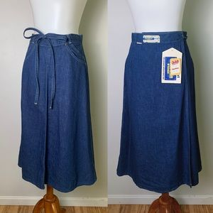 NWT 60s VINTAGE OSHKOSH Wrap Denim Skirt